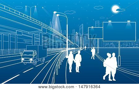 Automotive overpass, truck move highway, architectural, infrastructure and transportation,, people walking, billboards on the street, white lines, urban scene, night city, vector design art