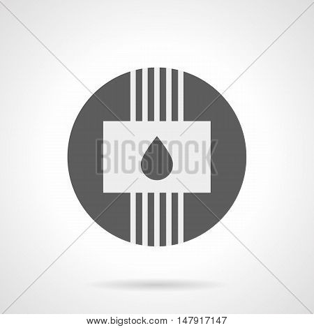 Abstract white silhouette sign of panel with drop and pipes. Water heating and plumbing system. Type of heated floor. House improvement for cold season. Gray round flat style vector icon.