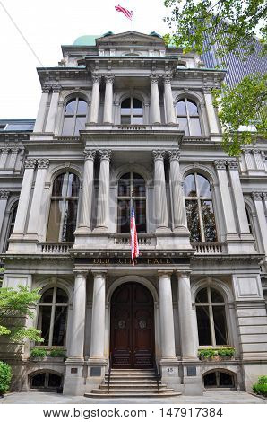 Boston Old City Hall is a 19th-century building with French-style facade on the Freedom Trail in downtown Boston, Massachusetts, USA.