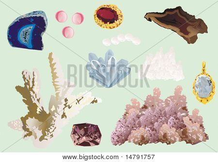 illustration with gems isolated on blue background