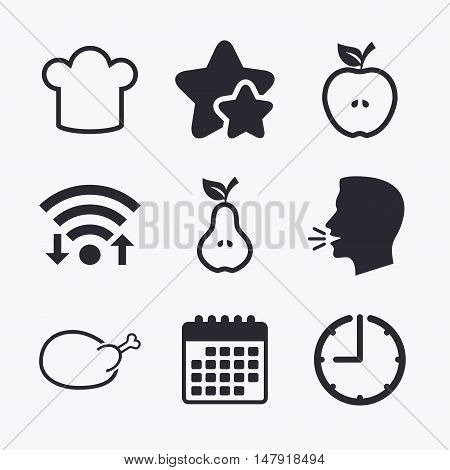 Food icons. Apple and Pear fruits with leaf symbol. Chicken hen bird meat sign. Chef hat icons. Wifi internet, favorite stars, calendar and clock. Talking head. Vector