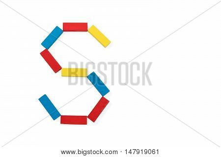 Capital letter S made up of different color wooden rectangular blocks isolated on a white background