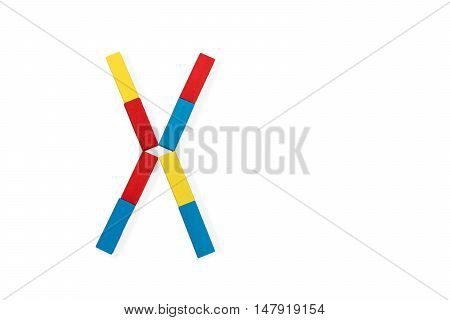 Capital letter X made up of different color wooden rectangular blocks isolated on a white background