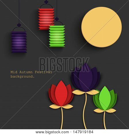 Mid Autumn Festival beautiful origami styled image on a gray background. The Full Moon Chines holyday, vector illustration