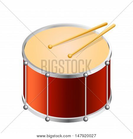 Isometric Bass drum vector isolated on white. Flat vector illustration