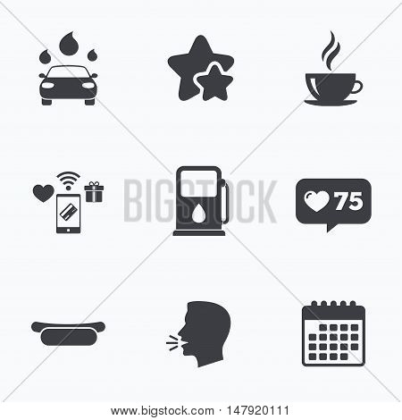 Petrol or Gas station services icons. Automated car wash signs. Hotdog sandwich and hot coffee cup symbols. Flat talking head, calendar icons. Stars, like counter icons. Vector