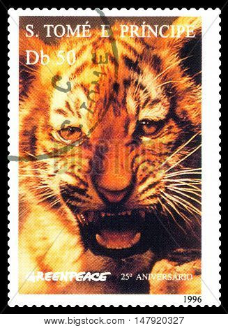STAVROPOL RUSSIA - SEPTEMBER 18.2016: A stamp printed in Sao Tome and Principe shows Tiger series Greenpeace circa 1996