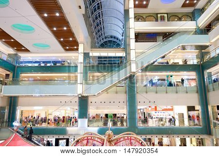 HONG KONG - CIRCA JANUARY, 2016: inside of New Town Plaza shopping mall. New Town Plaza is a shopping mall in the town centre of Sha Tin in Hong Kong.