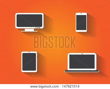 Computer devices icons vector orange color background