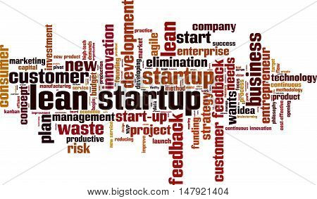 Lean startup word cloud concept. Vector illustration