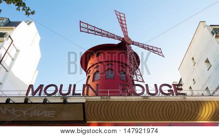 Paris France-July 17 2016: The famous cabaret Moulin Rouge located close to Pigalle district on boulevard Clichy in Paris France.
