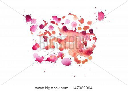 Watercolor aquarelle hand painted color shape art paint splatter stain.