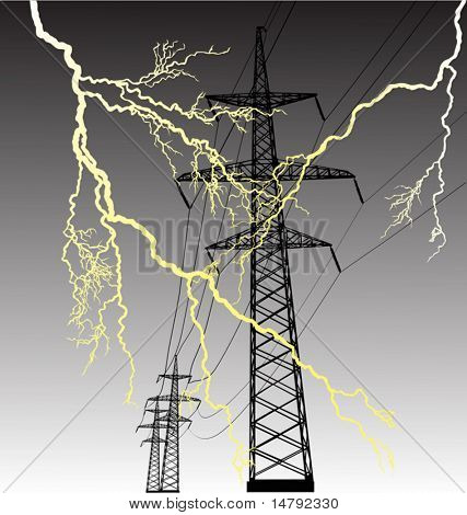illustration with high-voltage line at thunderstorm