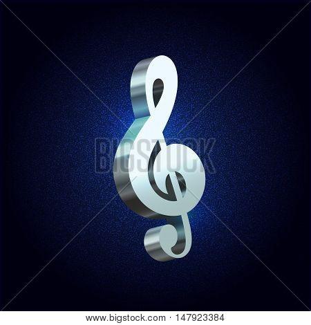 Vector silver treble clef 3D style symbol