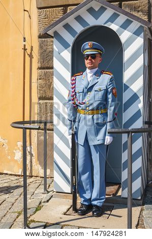 Prague, Czech Republic, August 20, 2011: Guard Stands In Front Of  The Entrance To The Prague Castle