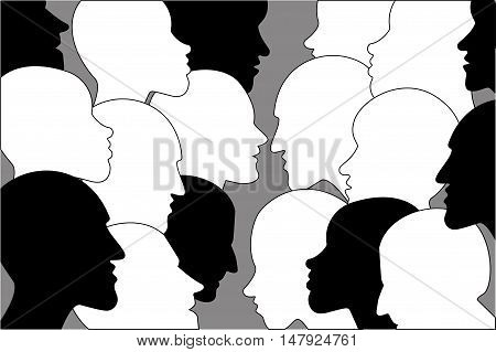 Human profile head in dialogue. Black and white silhouettes.