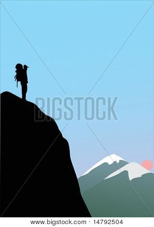 illustration with single rock climber in high mountains