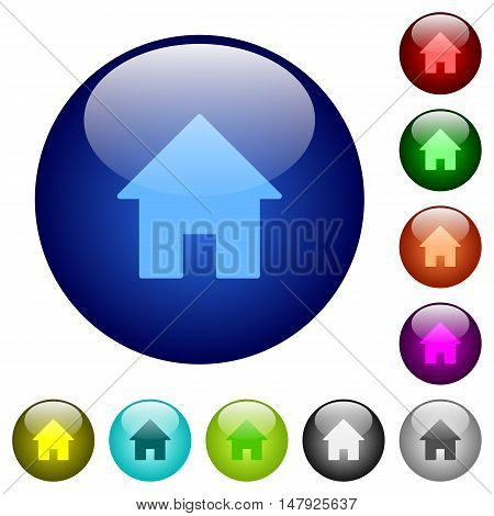 Set of color home glass web buttons.