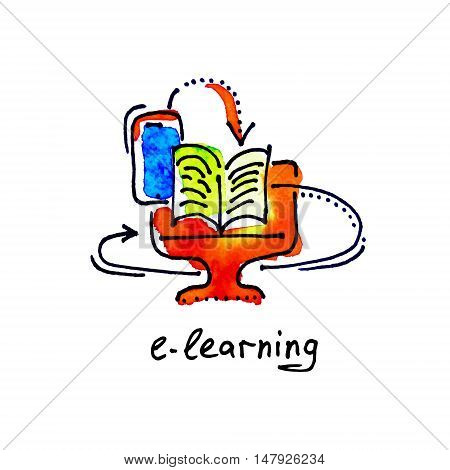 sketch watercolor icon of e-learning, distance education and online learning concept vector illustration