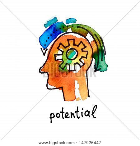 sketch watercolor icon of potential, distance education and online learning concept vector illustration