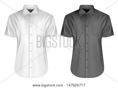 Men's short sleeved formal button down shirts. Fully editable handmade mesh, Vector illustration.