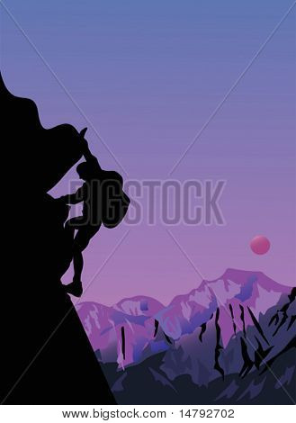 illustration with rock climber at sunset