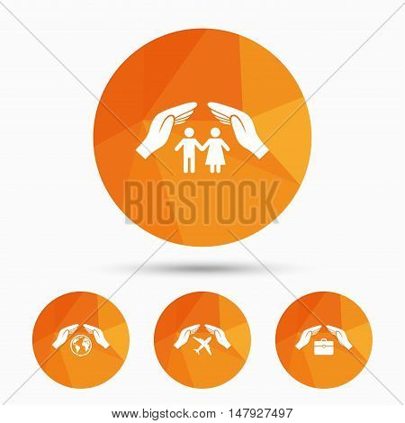 Hands insurance icons. Human life insurance symbols. Travel flight baggage symbol. World globe sign. Triangular low poly buttons with shadow. Vector