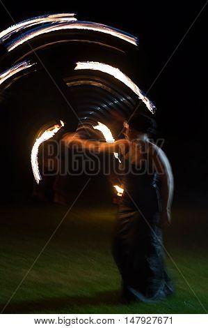 TIMISOARA ROMANIA - SEPTEMBER 17 2016: Public fire show organized in Timisoara Romania.Timisoara has been designated European Capital of Culture in 2021.