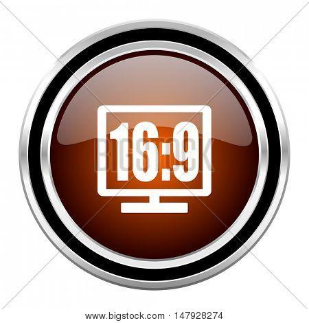 16 9 display round circle glossy metallic chrome web icon isolated on white background