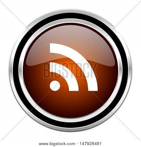 rss round circle glossy metallic chrome web icon isolated on white background