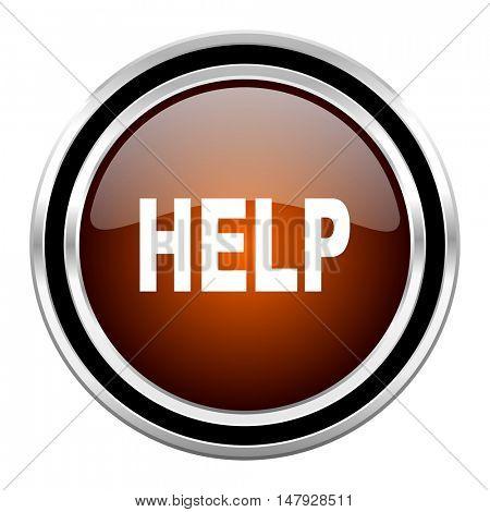 help round circle glossy metallic chrome web icon isolated on white background