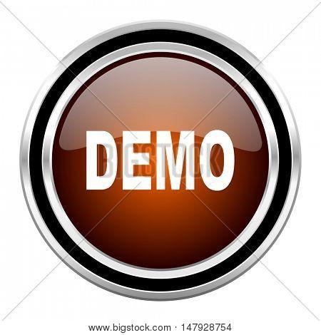 demo round circle glossy metallic chrome web icon isolated on white background