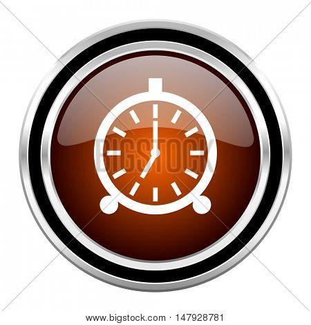 alarm round circle glossy metallic chrome web icon isolated on white background