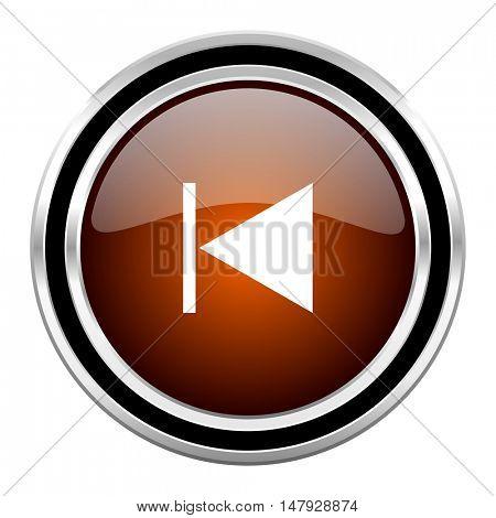 prev round circle glossy metallic chrome web icon isolated on white background