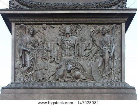 decor element of landmark Alexander column in Saint Petersburg