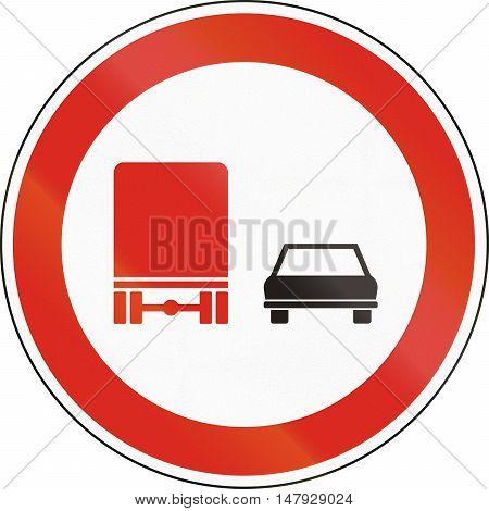 Hungarian Regulatory Road Sign - No Overtaking For Trucks