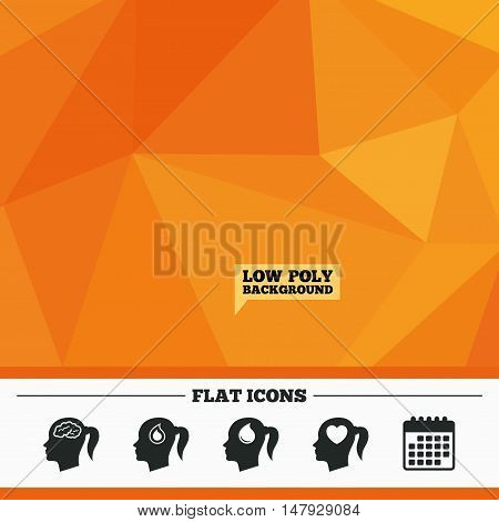 Triangular low poly orange background. Head with brain icon. Female woman think symbols. Blood drop donation signs. Love heart. Calendar flat icon. Vector