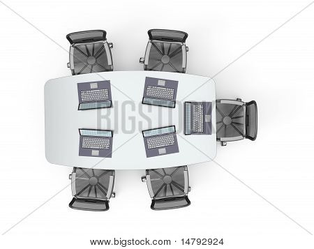 Conference Table With Laptops
