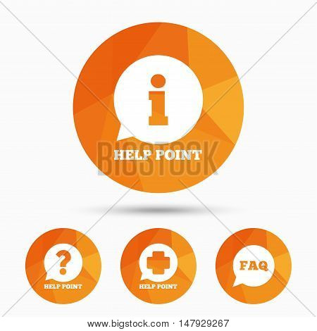 Help point icons. Question and information symbols. FAQ speech bubble signs. Triangular low poly buttons with shadow. Vector