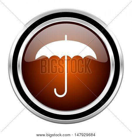 umbrella round circle glossy metallic chrome web icon isolated on white background