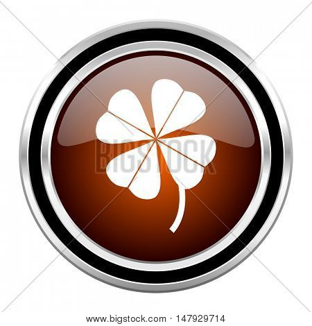 four-leaf clover round circle glossy metallic chrome web icon isolated on white background
