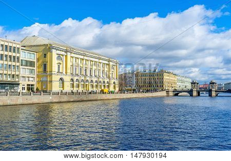 The Fontanka River boasts ones of the most beautiful bridges in city - Anichkov and Lomonosov St Petersburg Russia.