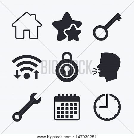 Home key icon. Wrench service tool symbol. Locker sign. Main page web navigation. Wifi internet, favorite stars, calendar and clock. Talking head. Vector
