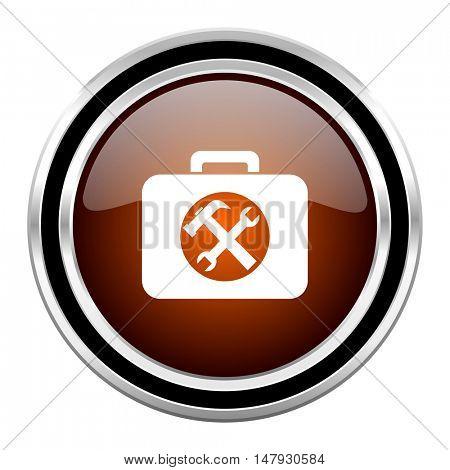 toolkit round circle glossy metallic chrome web icon isolated on white background