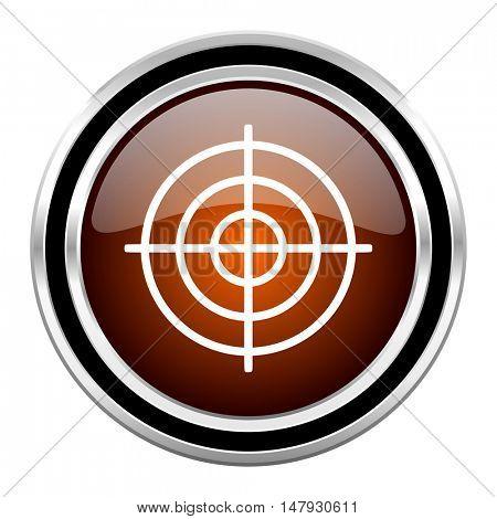 target round circle glossy metallic chrome web icon isolated on white background