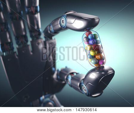 3D illustration. Robot hand holding a multivitamin pill.