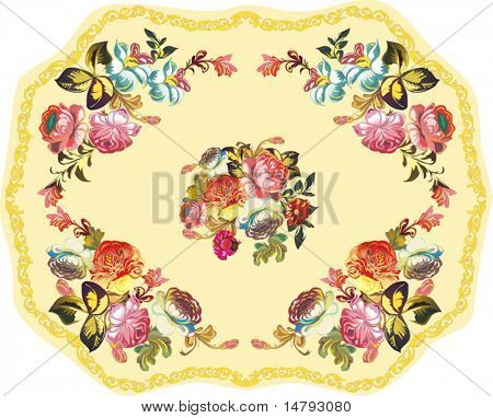 illustration with rose flower decoration on yellow background