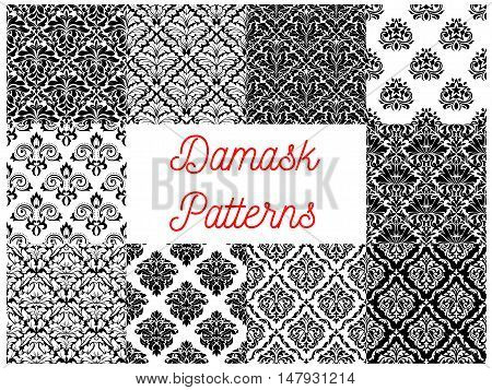 Damask pattern set of black and white seamless background with floral arabesque ornaments. Interior textile print or wallpaper design