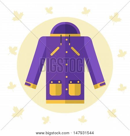 Flat design vector illustration of raincoat or jacket for autumn or spring seasons. Waterproof clothes for rain and cold weather. Violet and yellow coat stock icon isolated on white background.