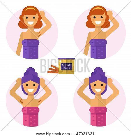 Flat design vector illustration of armpits depilation with sugaring paste. Smiling girls in towel are demonstrating results of of hair removal. Body care, health and beauty icons concept.